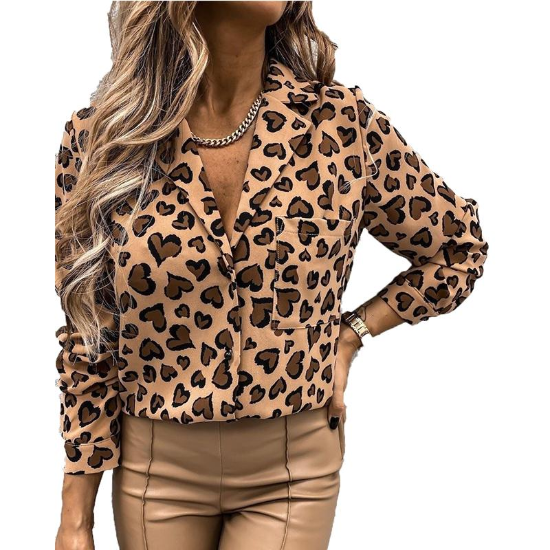 Женские топы и блузки повседневные элегантные офисные рубашки ретро с длинным рукавом белая рубашка весна женские леопардовые напечатанные блузки-стрит одежды 5U1C
