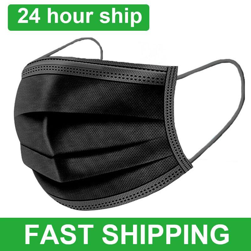 USPS Anti-Dust 8 ~ 10days Maske 3-Layer-Tuch Geblasenes Einweg-TKBAF-Mund-schwarze Masken Schmelzen Einweg-freie Gesicht Offene Mask-Masken QNWSI