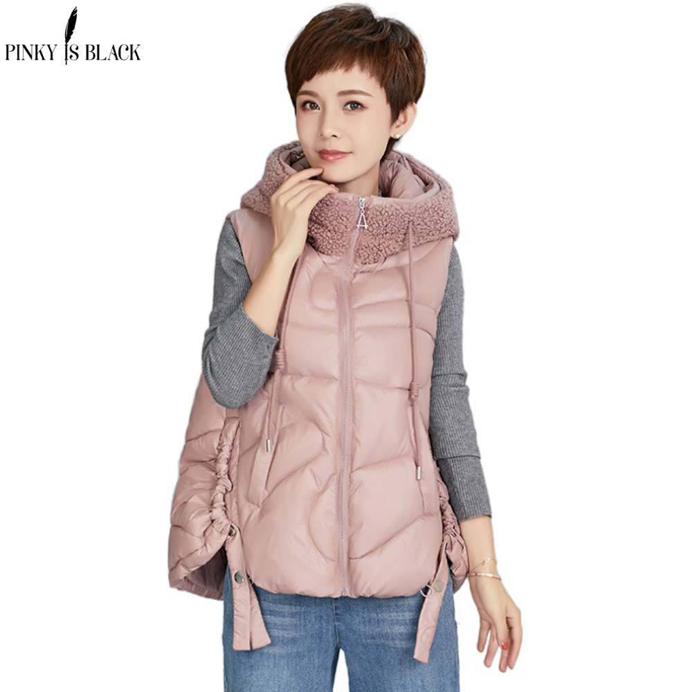 Pinkyisblack 2020 New velo emendado Glossy acolchoado com cordão com capuz Inverno Colete Vest Jacket Mulheres