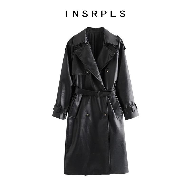 INSRPLS Women Fashion With Belt Double Breasted Faux Leather Trench Coat Vintage Long Sleeve Female Outerwear Chic Overcoat
