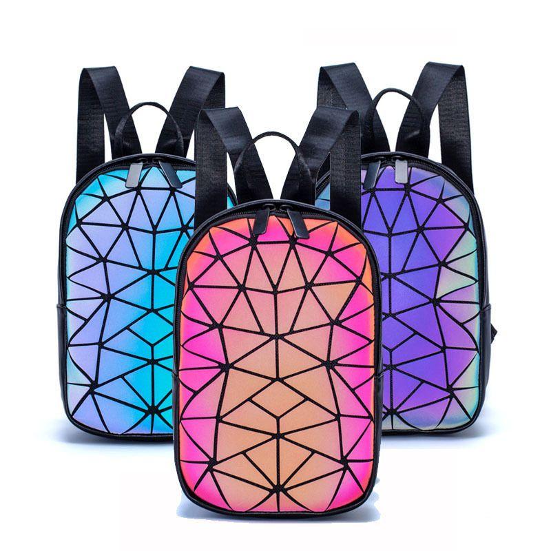 Luminous Women Small Geometric Backpack Folding Female Holographic Backpacks Colorful Reflective School Bags Q1113