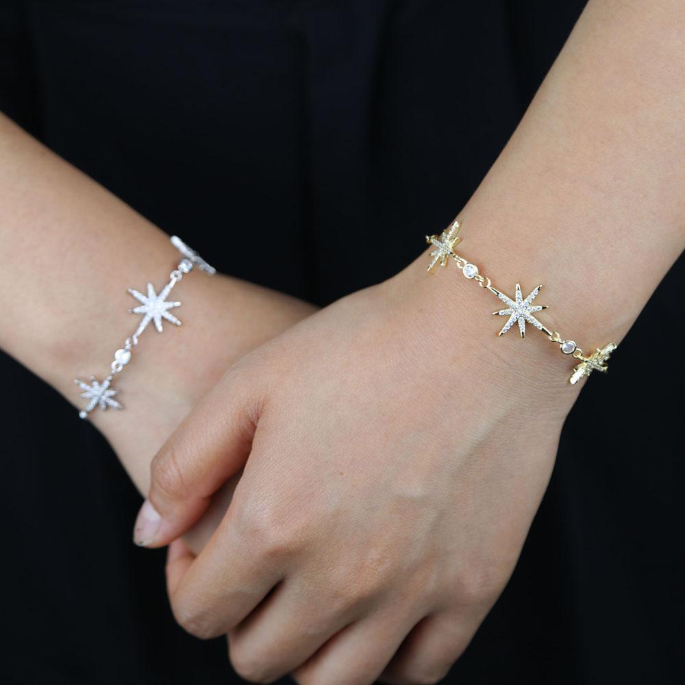 2020 de moda de lujo circonio cúbico de piedra Ajuste encanto de la pulsera de cadena de las mujeres exquisito del color oro plata brazalete pulsera Joyas niña de regalo