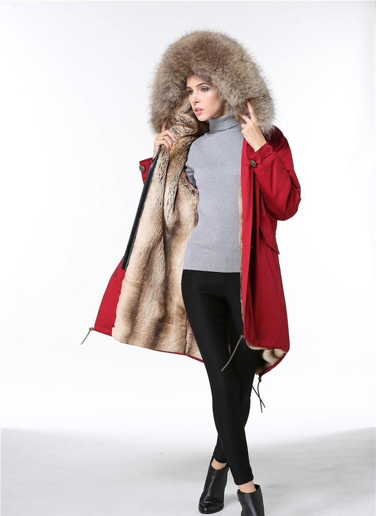 Meifeng marka Cömert kürkler kadın kar ceketler güzel kahverengi rakun kürk Döşeme haki tavşan kürk astarlı uzun parkas kırmızı