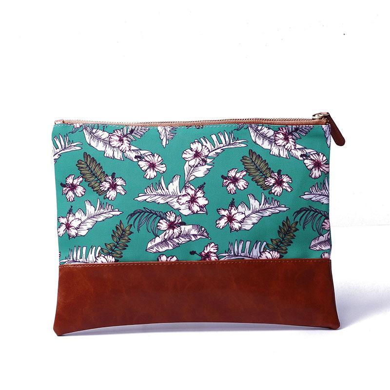 Hawaii Reißverschluss Floral Faux Bag Dom103491 Drucken Frauen Kosmetische Lederkupplung Make-up-Tasche mit Leinwand-Verschluss PU-Flamingo-Muster mit DEDV