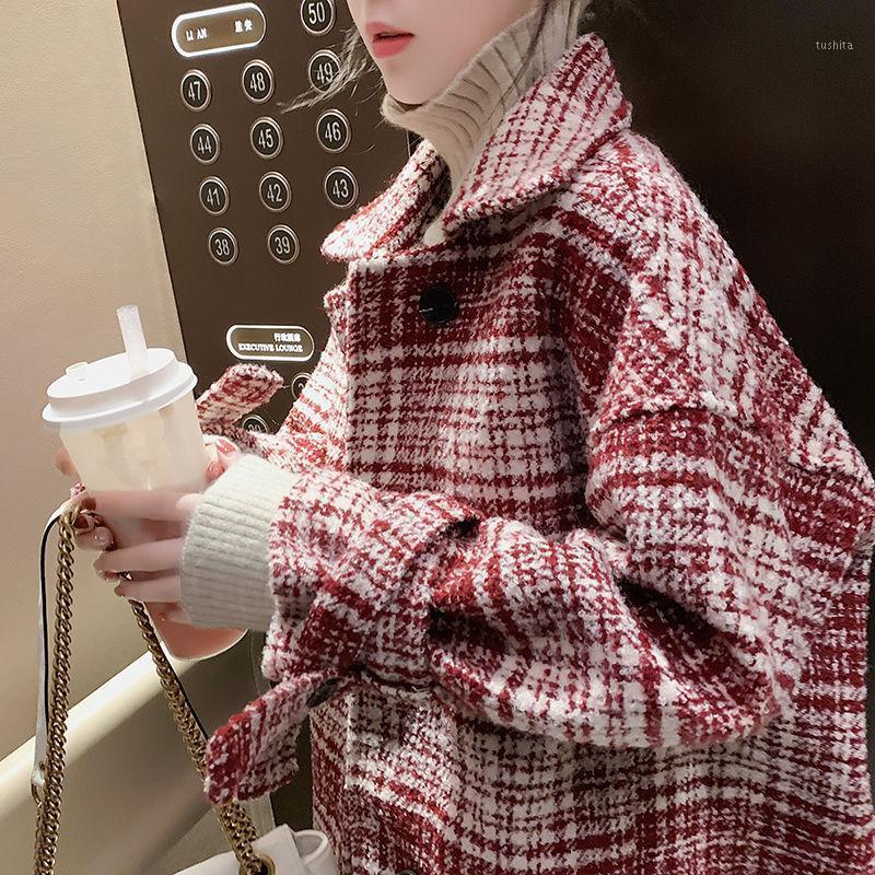 Bella Felsefesi 2020 Bahar Kadın Orta Uzun Ekose Zarif Yün Mont Lady Gevşek Streetwear Kadın Kış Kalın Sıcak Coat1