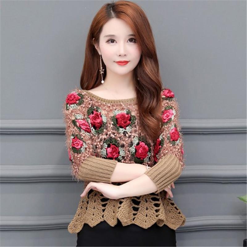 2021 봄 새로운 목록 짧은 할로우 꽃 스웨터 패션 여성 의류 캐주얼 스웨터 여성 패션 레트로 스웨터