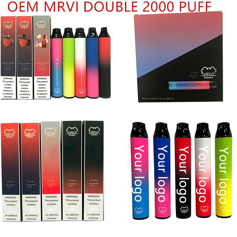 Original MRVI Double Cigarettes 2000 + Puffs Vape Vape Pen 900mAh Batería de 6ml Cartuchos E Cigs Edición limitada Vaporizadores vs Puff Max
