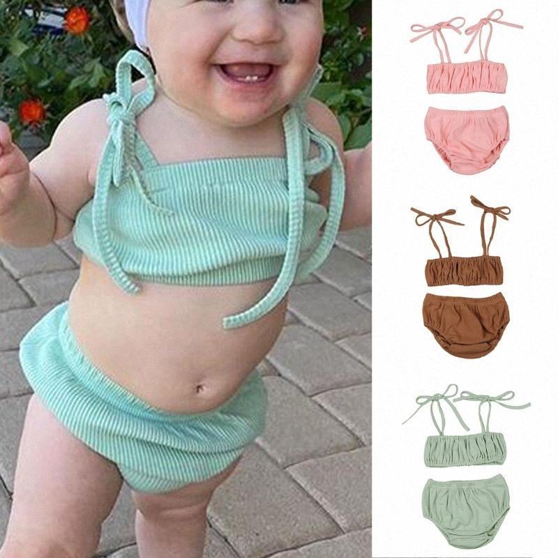 0-3Y Newborn Infant Baby Girls Boys Clothes Sets Solid Sleeveless Belt Vest Tops Shorts 2pcs EBfN#