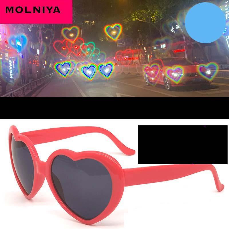 Forma del amor del corazón del marco gafas de sol de las mujeres PC lente luz del corazón Cambio amor colorido Gafas de sol rojas femenino rosa Sombras