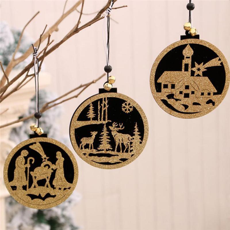 2020 Новый год Новогоднее украшение Творческий Рождественская елка Висячие Подвеска Круглый Elk Деревянные украшения Xmas Party