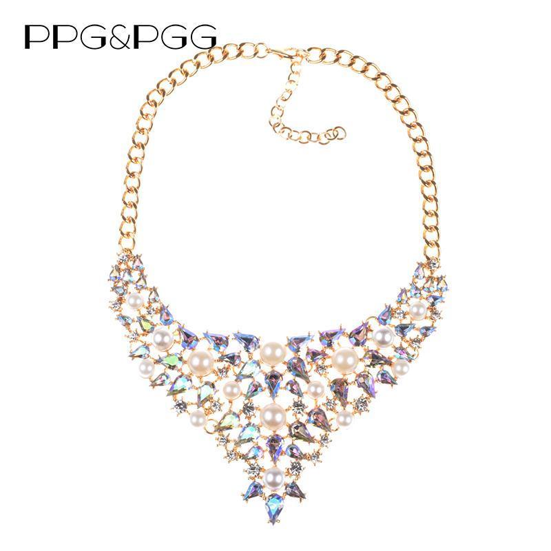 PPGPGG Hot Brand Bohemian Wedding Сымитированный Pearl себе ожерелье для женщин шариков Воротник Подвеска Чокеры ожерелье