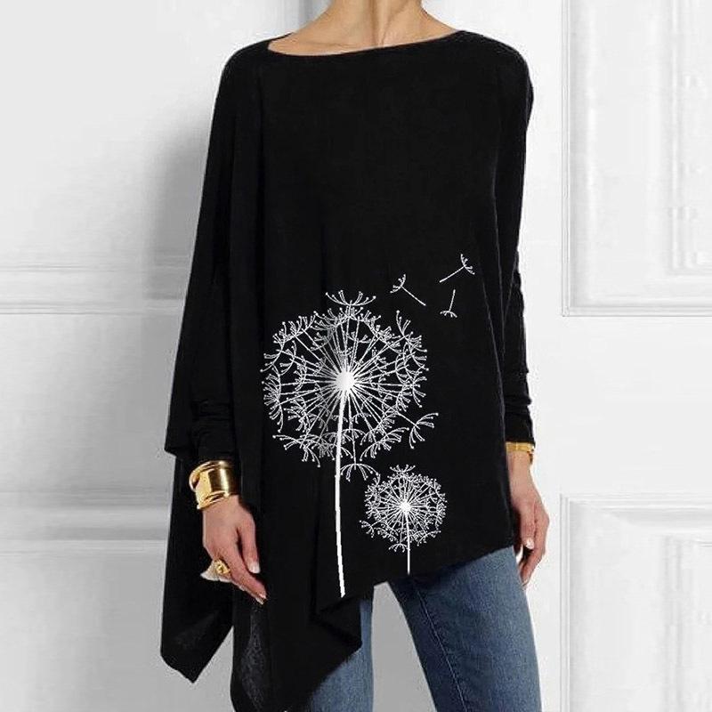 Moda Irregular Shirt Mulheres Dandelion das Mulheres Impressão O-pescoço de manga comprida Casual Top Solto Senhoras Camisa Plus Size Lady Top X1217