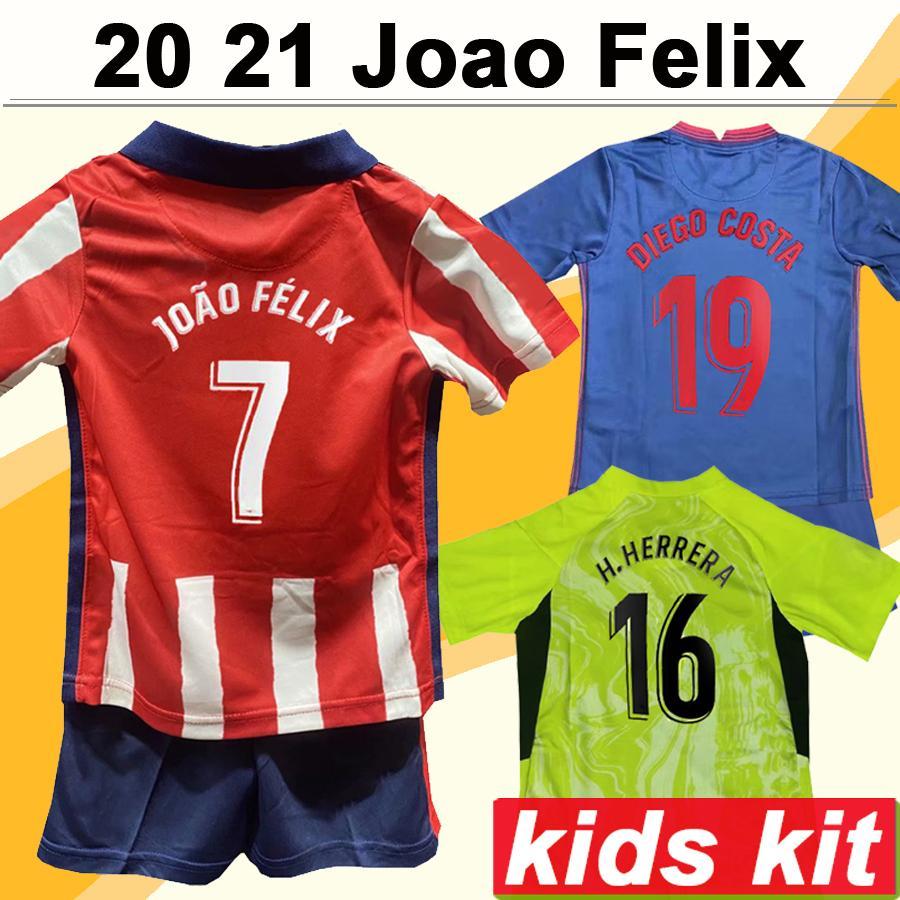 2020 2021 Joao Felix Kids Kite Soccer Jerseys Koke Diego Costa Home Away قمصان كرة القدم الثالثة H. Herrera M. Llorente Morata Child Online