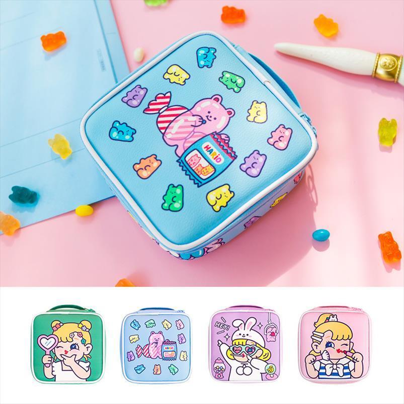 Viaggio portatile Grande capacità Borsa per organizzatore Borsa Girls Borsa Cartoon Handbag Cosmetico trucco cosmetico per stoccaggio Donne Pflrc