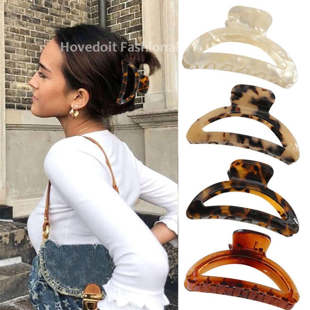 Mode Accetate Leopard Print Hair Clip Krabbenhaarklauen für Frauen Mädchen Haarnadeln Haarschmuck Kopfschmuck Party Geschenke