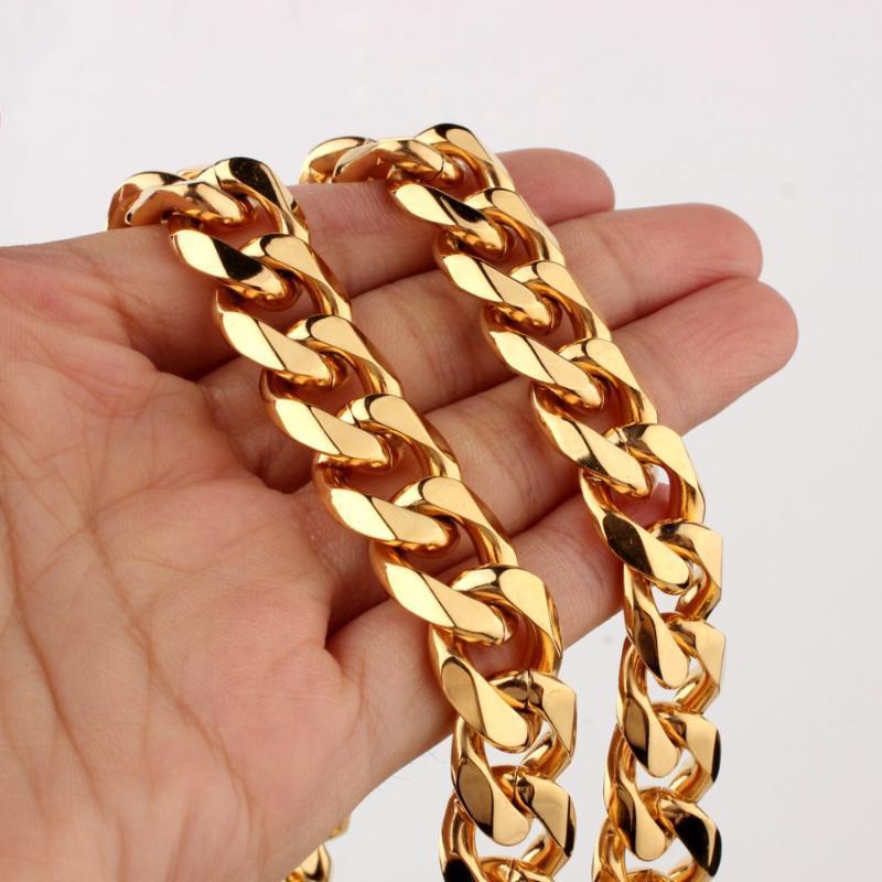 """Granny Chic 8-40"""" Breite 15 mm Biker Männer lange Halskette Gold 316L Edelstahl-Kette Modeschmuck Geschenk"""