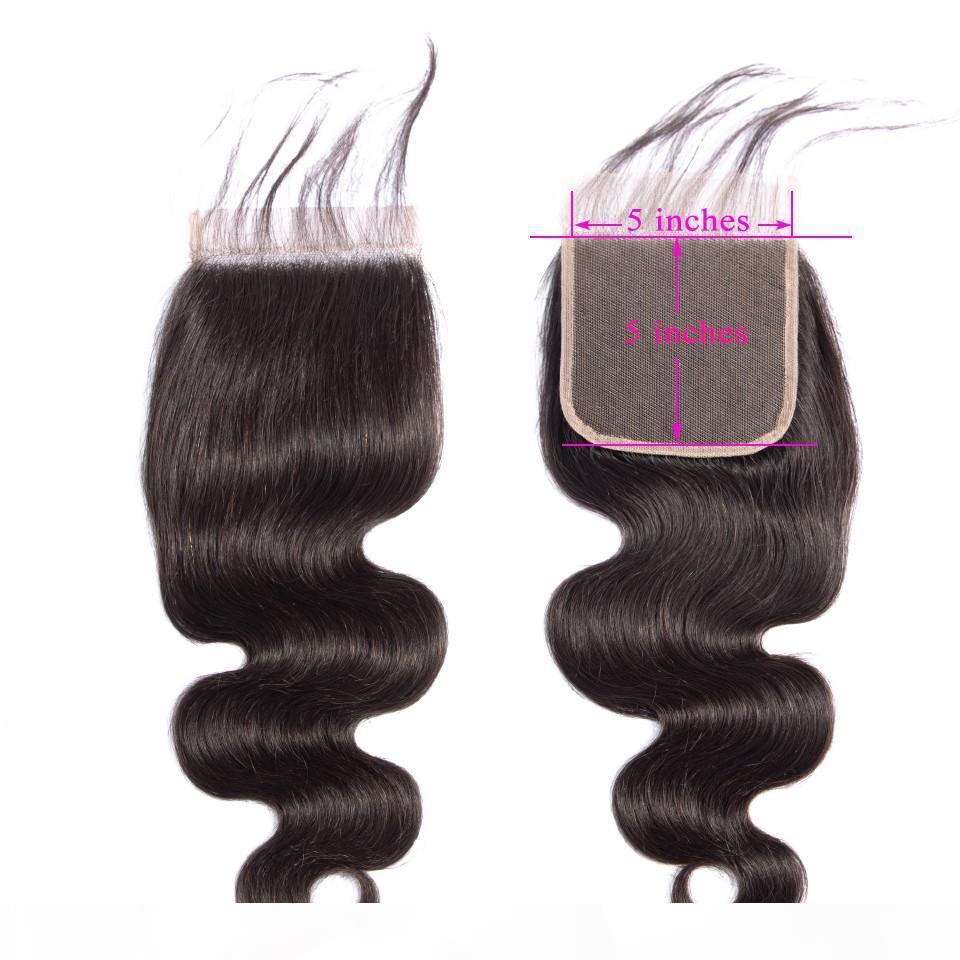 Transparent Remy Cheveux 5x5 Dentelle Fermeture du Brésil vague de corps Couleur des cheveux naturels 8-22 pouces de cheveux humains gratuit Moyen Partie III Fermeture