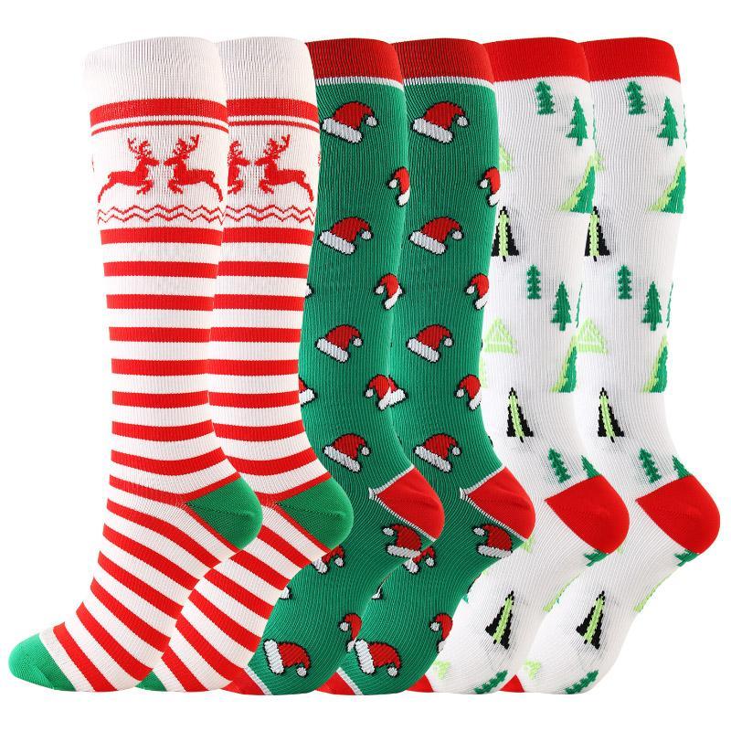 Nuovi arrivi di compressione di Natale di alta qualità delle donne degli uomini Calze pressione Calze Compress Sport Modello Esecuzione ginocchio nylon ad alta Run Socks