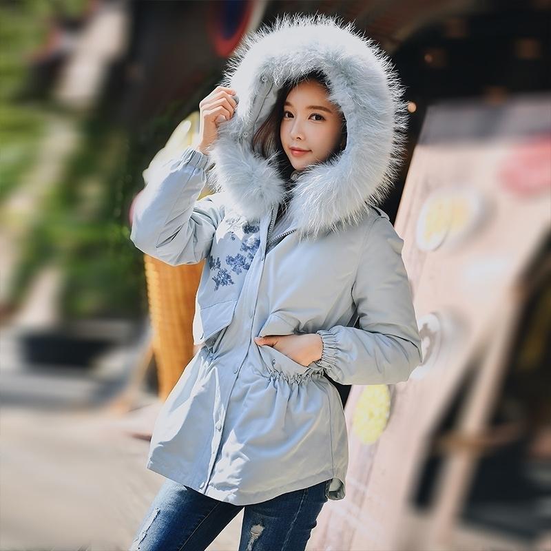Dabuwawa Raccoon fourrure à capuchon à capuchon à l'avance femelle hiver chaude épaisseur de canard blanc down manteaux vestes de vêtements de vêtement d'extérieur DN1DDDW029 201030