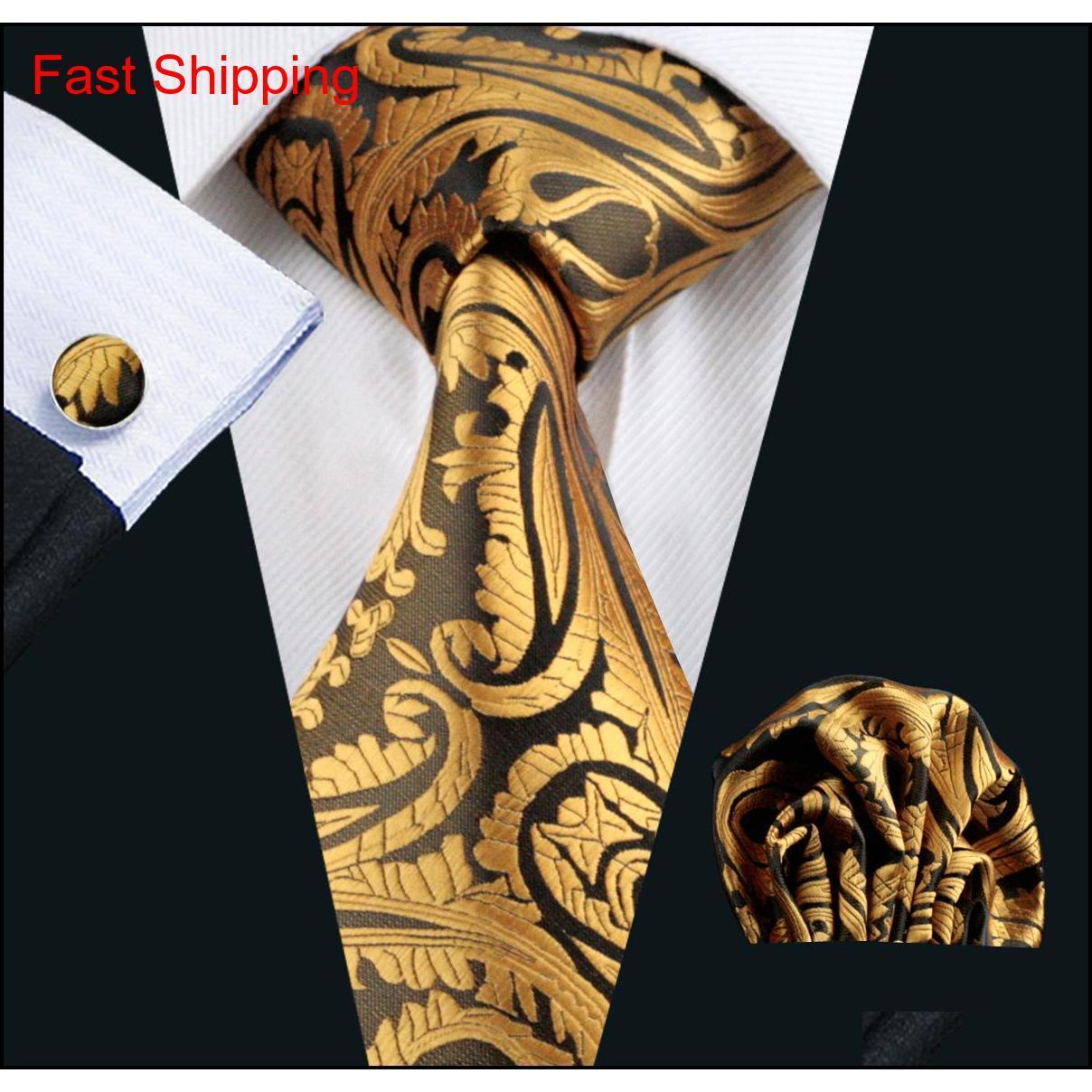 Venta caliente Oro Amarillo Amarillo para Hombres Hankerchief Gemelos Set Mens Jacquard Tejido Negocio Necktie 8.5cm Ancho Qyltdy Beauty888