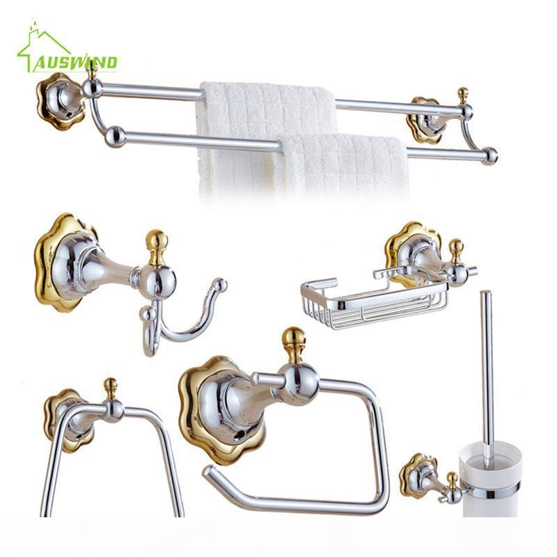 Polish Gold And Silver Flower Design Bathroom Accessories Set Stainless Steel Polished Bathroom Hardware Sets yxlCjD ffshop2001