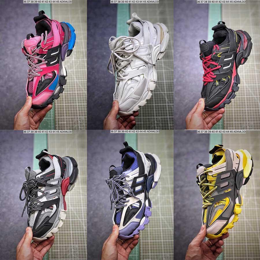 Hommes Femmes Chaussures Casual Track 3.0 Sneakers Tess Paris Hommes Gomma Noir Bas Maille piste 3M Triple S Chaussures de plein air Jogging Maladroit