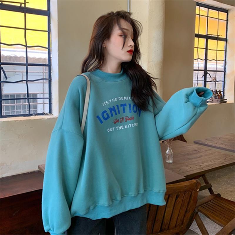 Coreano femminile Kawaii sciolto girocollo Lettera Stampa Abbigliamento per le donne C1012 Felpe giapponese Harajuku Ulzzang di Felpa Donne