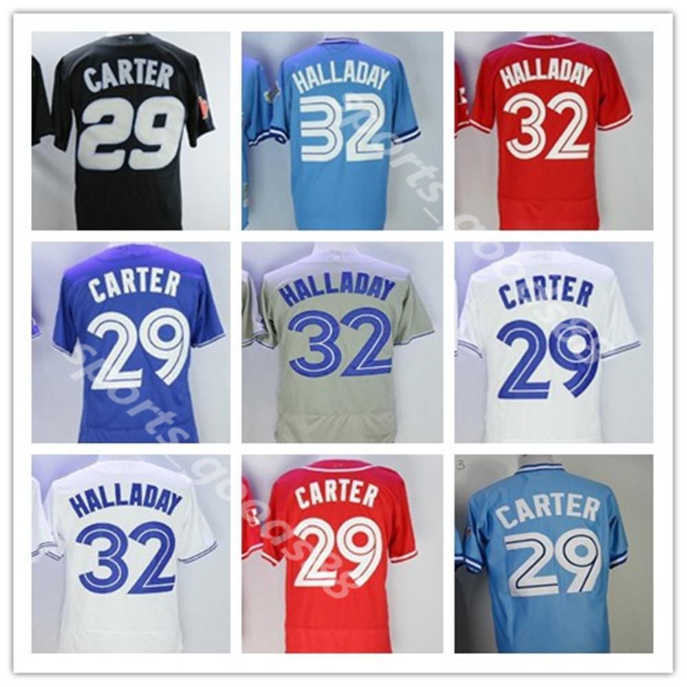 Blue Jays Baseball 29 Joe Carter Jersey 32 Roy Halladay Flexbase Todos os homens costurados mulheres crianças juventude