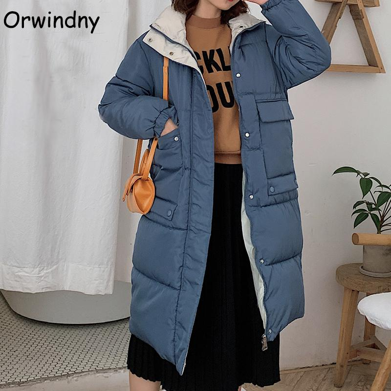 Larga capa de invierno Mujer nueva elegante chaqueta femenina gruesa de algodón caliente chaqueta acolchada ropa exterior con capucha Parkas azul Ropa Owindny LJ201020