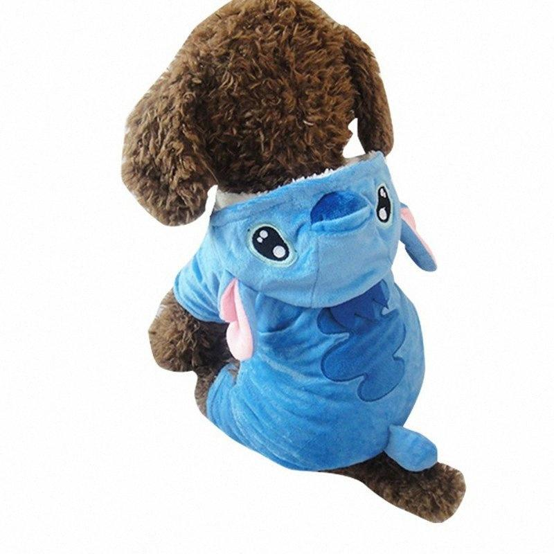 Super Warm Stitch Puppy Dog Clothes Small Dogs Coat Soft Velvet Pajamas Jumpsuit Pet Costume j2N5#