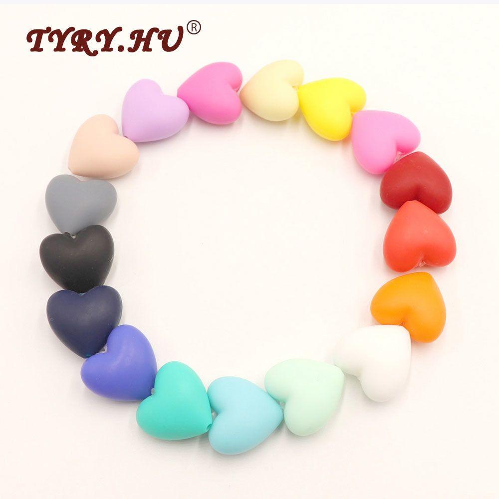 Tyry.HU 50pcs Big Tamaño Big Silicone Heart Beads Baby Teether para la joyería de bricolaje que hace collar BPA Safe Kids Teeting Mask Toys Q1106