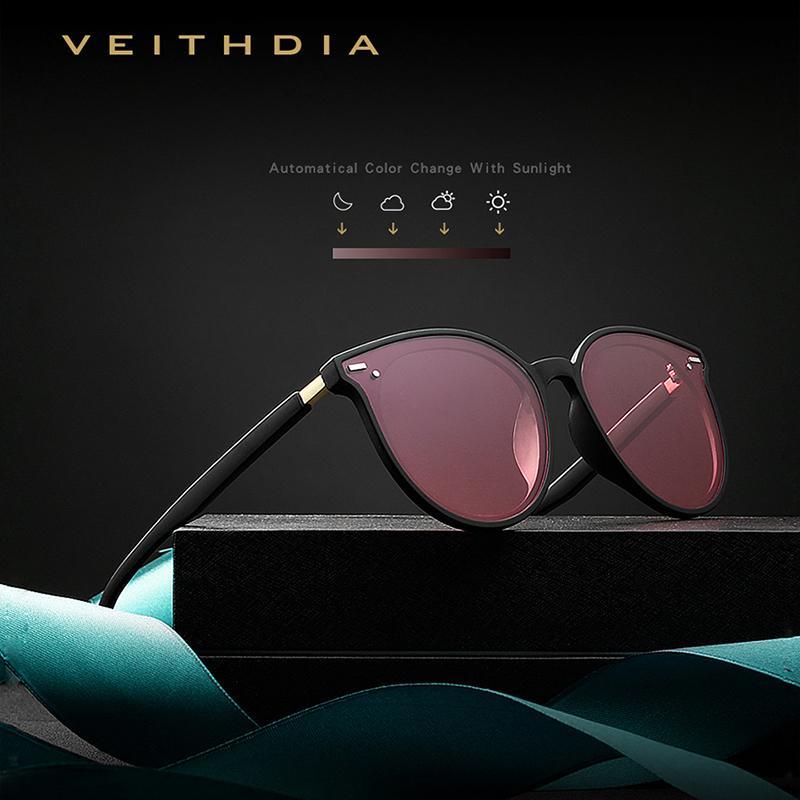 VEITHDIA Brand fotocromáticos para mujer gafas de sol polarizadas lente Espejo Noche Día de la vendimia doble Gafas de sol Mujer para las mujeres V8520