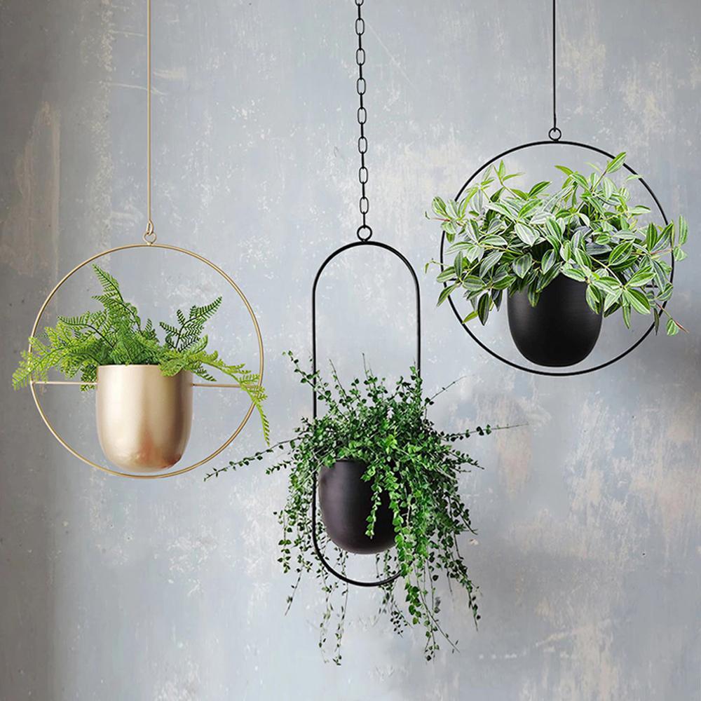 1Pcs metallo appeso Vaso da fiori gancio catena appesa Holder Planter Basket Flower Pot impianto Casa Giardino Balcone Decoration