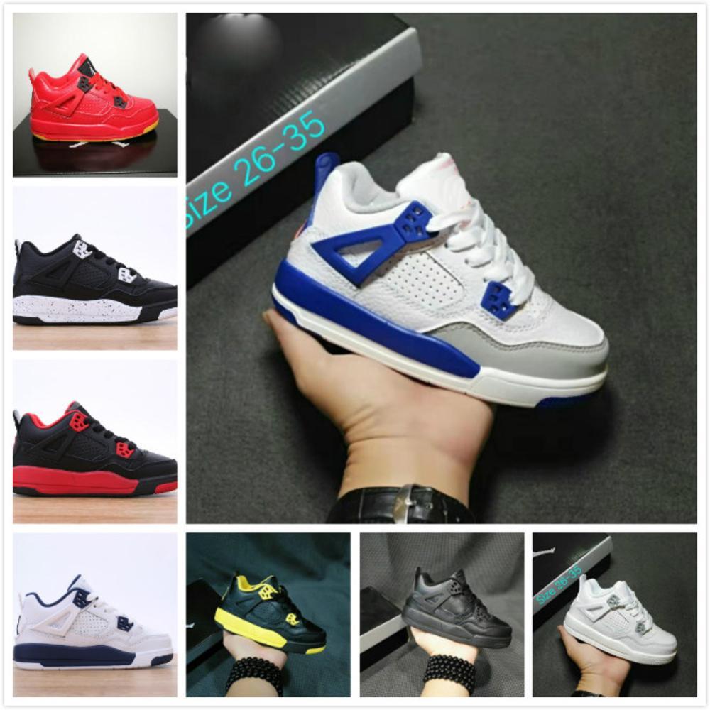 Bambini Jumpman 4 IV Scarpe da basket Collezione Bambini Outdoor Sport Sneaker Nero Cat Oreo Bianco Bred Bred Thunder Boy Girls 4 Athletic Sneaker