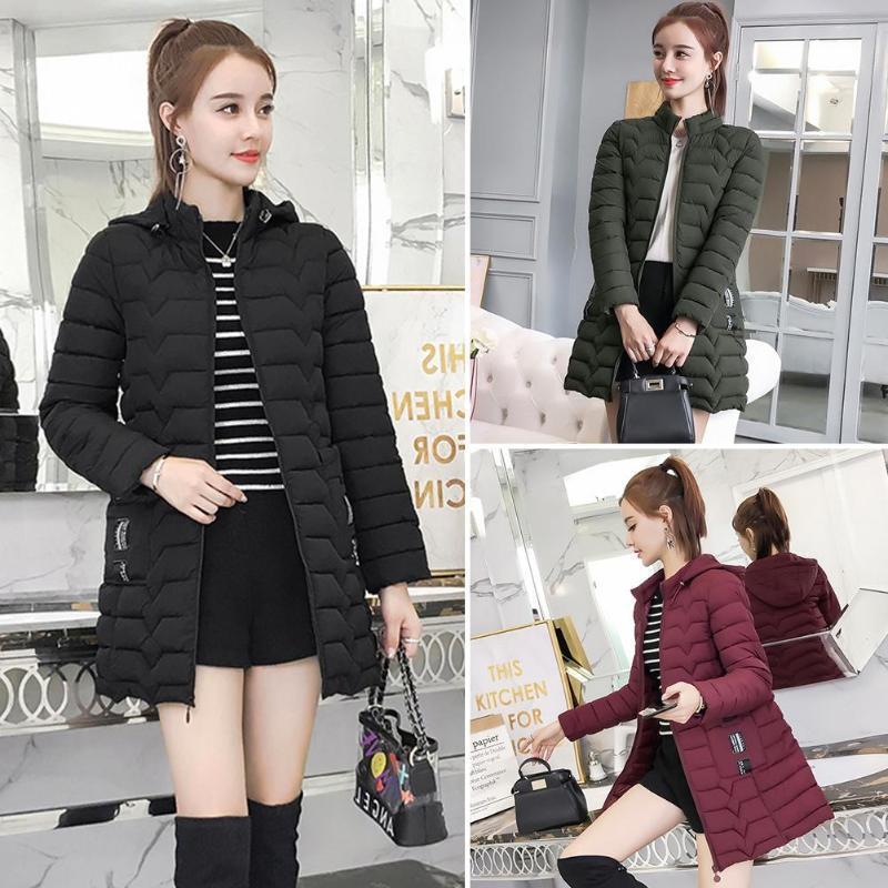 Escudo color sólido chaquetas de invierno Mujeres Slim Fit Moda cremallera con capucha de Down