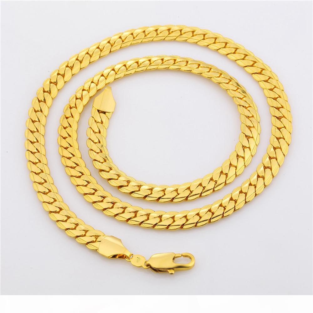 32 дюймов Супер Длинные мужские ожерелье Классический стиль 18-каратного желтого золота Заполненные Мужская мода цепи подарка ювелирных изделий