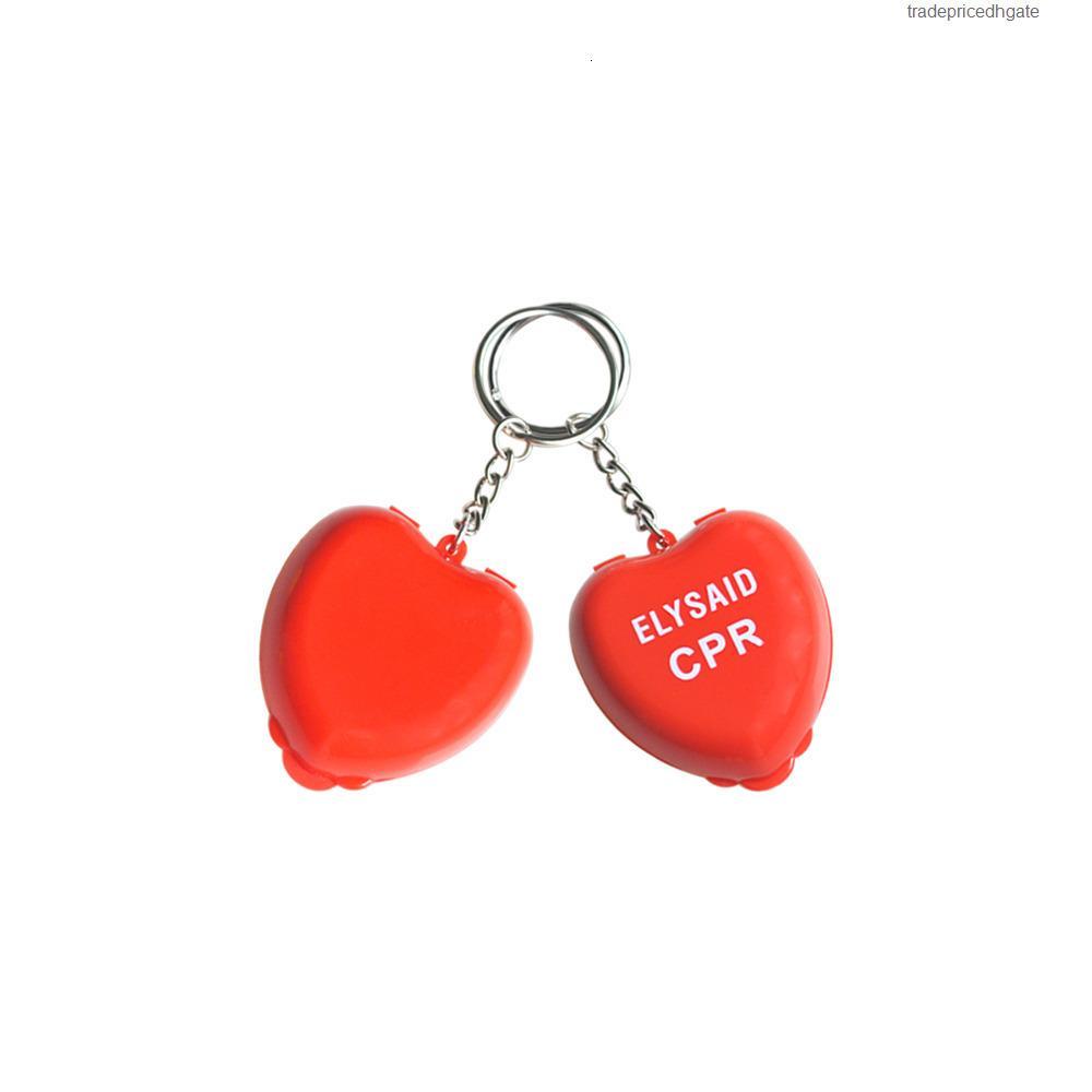 Yüz CPR 10 adet / grup Tek yönlü Anahtarlık Anahtarlık Ile Kalkan Maskesi Resüsitatör Anahtarlık Kalp Şekli İlk Yardım Kurtarma Kiti 2unx3