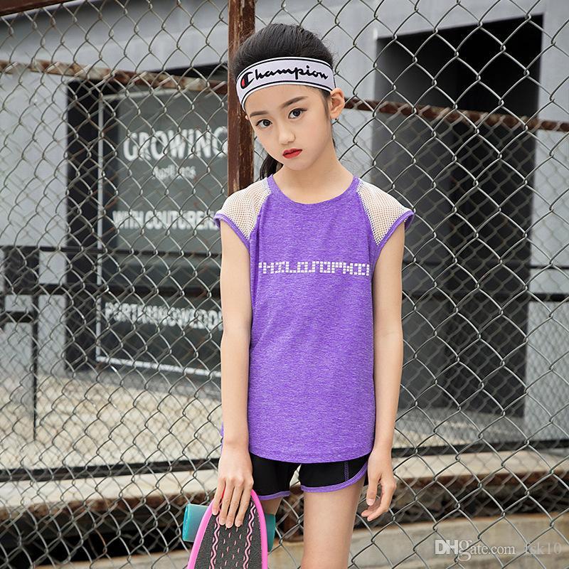 спортивная одежда детей 2 шт спорт комплект для девочек работает майка летняя девушка спортивные шорты дети набор йога фитнес вершины тренажерный зал