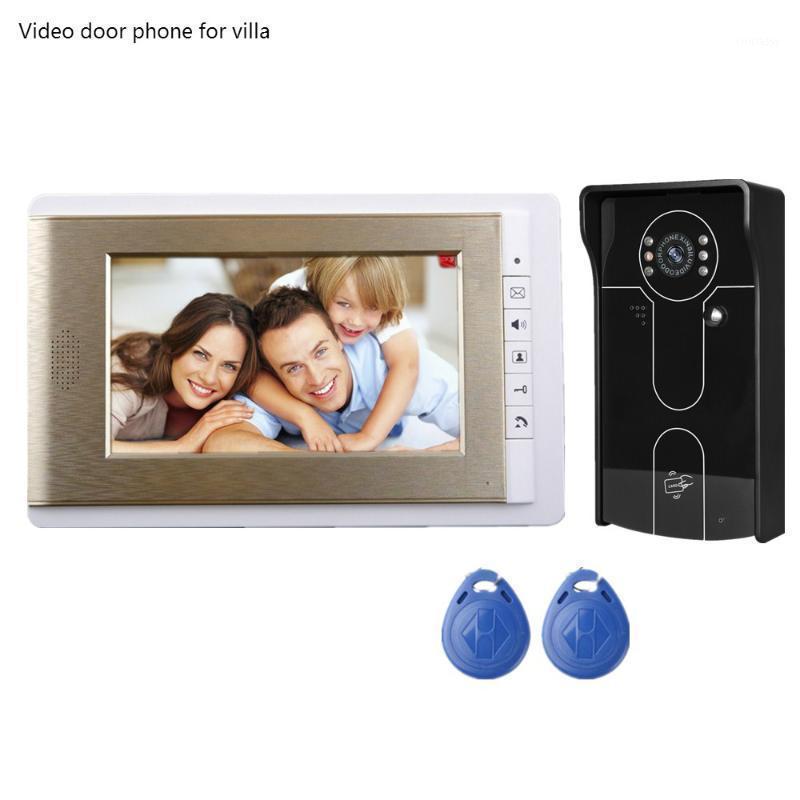 Videocamera Phones 7 pollici Sistema citofono del citofono TFT-LCD Schermo a colori Monitor Gold Night Vision Vision Camera ID Scheda Unlock Doorbell1