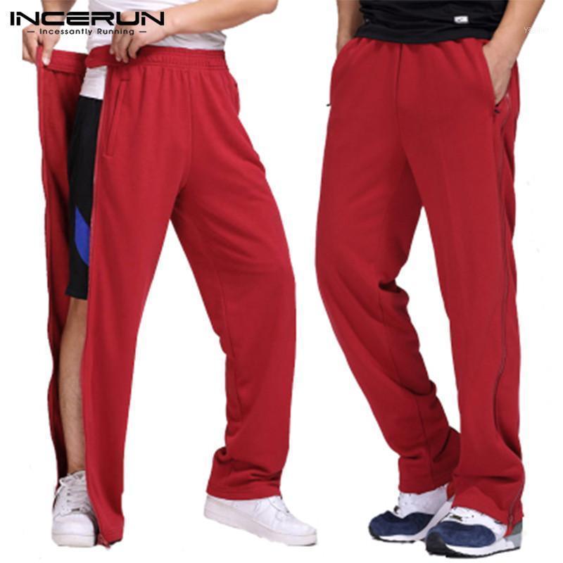 Мужские брюки мужские спортивные штаны упругая талия тренировки твердые бодибилдинг случайные брюки Joggers Streetwear Zippers Track S-5XL Incerun1