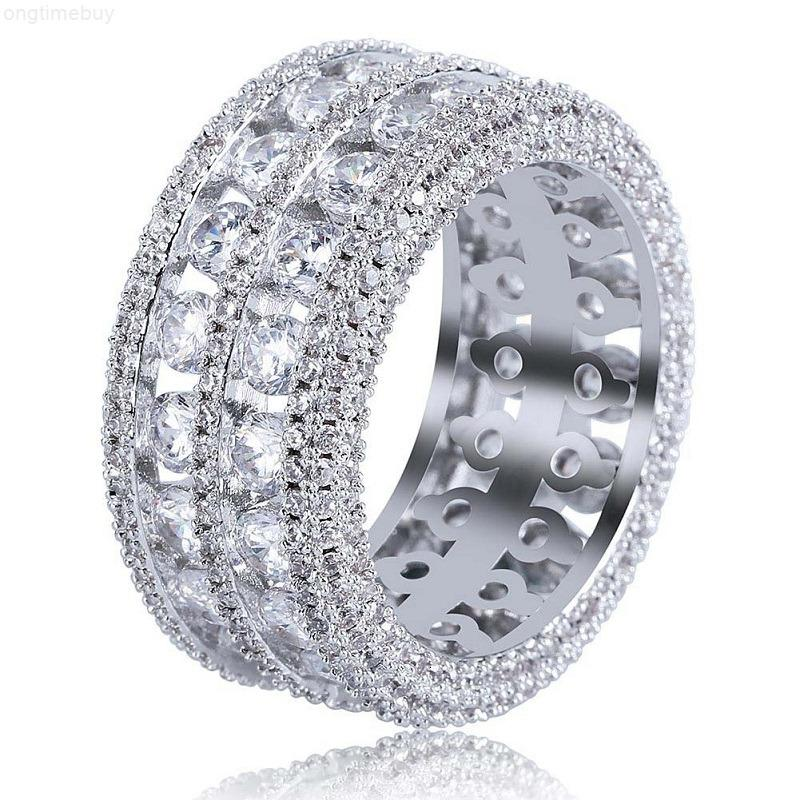 Hip Hop Eyed Out Rings Neue Mode Herren Gold Ehering Ring Schmuck Hohe Qualität Simulation Diamantring