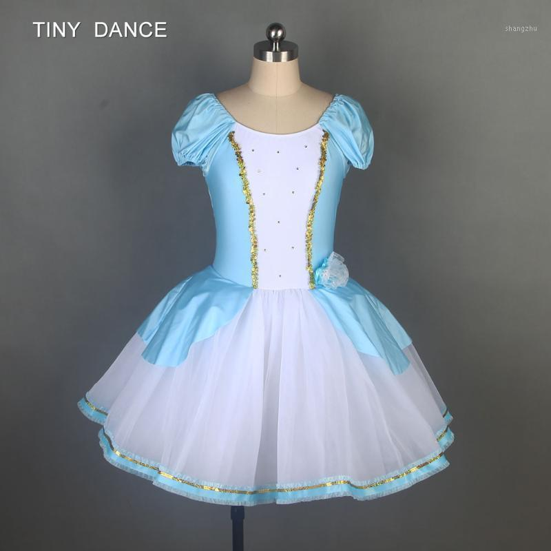 Child and Adult Ballet Dance Tutu Leotard Dress Sky Blue Spandex Bodice with Layers of Soft Tulle Tutus Ballerina Costume 195041
