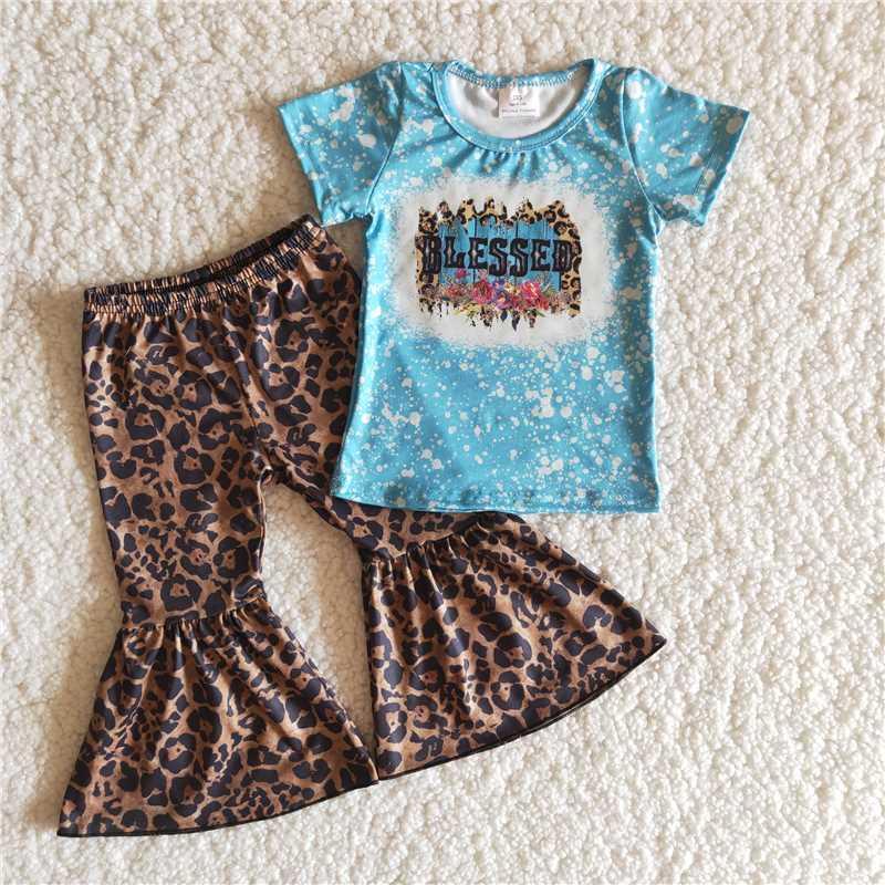 Fashion Boutique Baby Baby Ropa de bebé Azul Ropa para niños de manga corta Nuevo Diseñador Ropa Leopardo Estampado Pantalones de pierna ancha Pantalón Tide marea