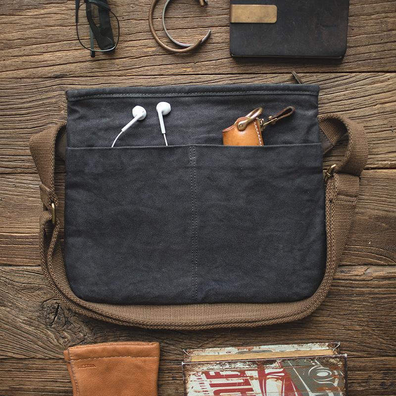 Maden Hommes Piercings Canvas Messenger Bag école Voyage Outils de travail Sac bandoulière 201015