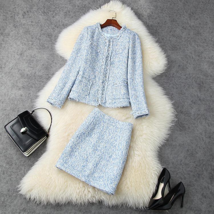 Europäische und amerikanische frauen tragen 2020 winter neue stil lang - ärmelig perlen mantel röcke modisch blaue tweedanzug