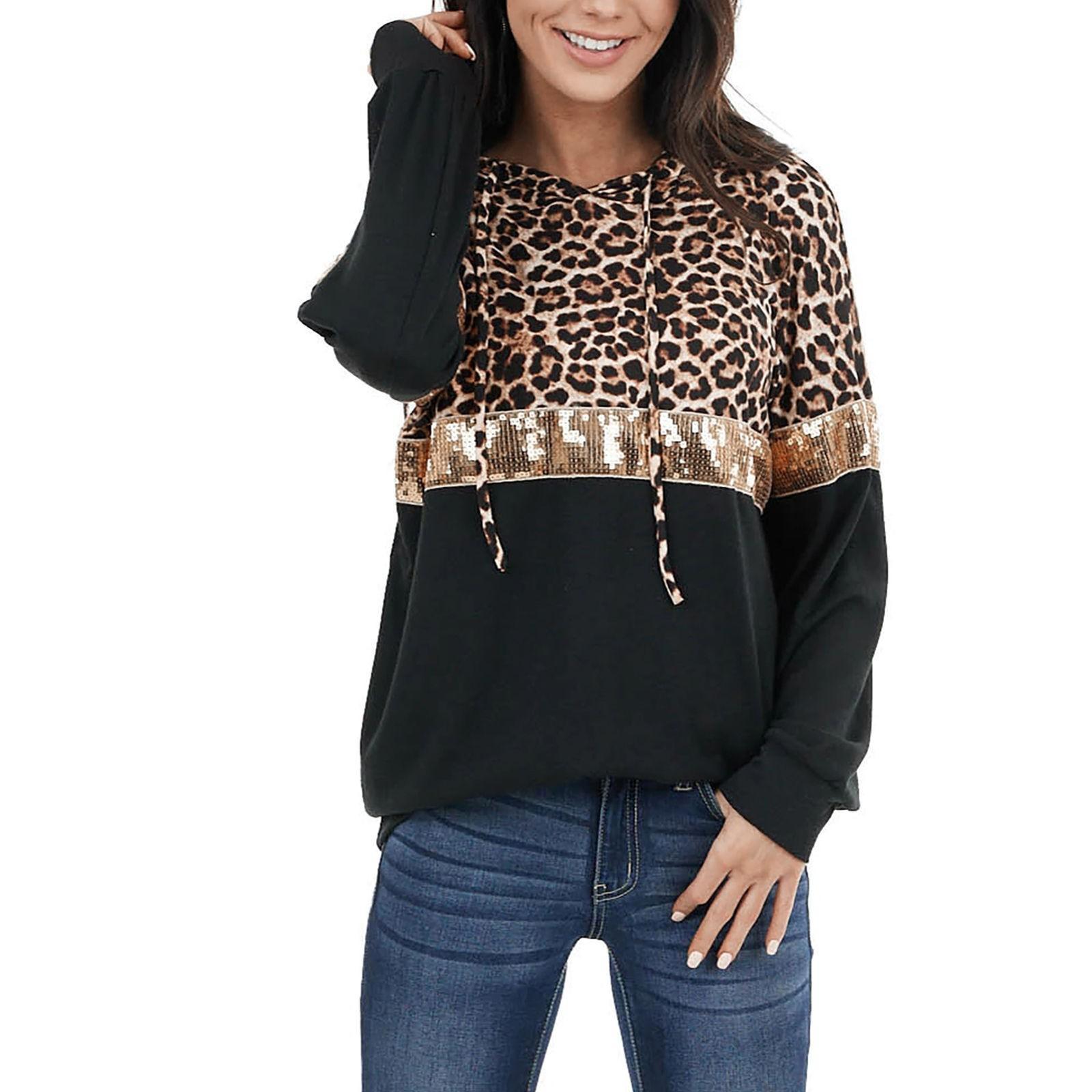 Leopard Parted Hoodie Tops Женские повседневные с длинными рукавами V-образным вырезом Шищеные толстовки Женщины Vintage Sudadera Mujer Invierno Q0116