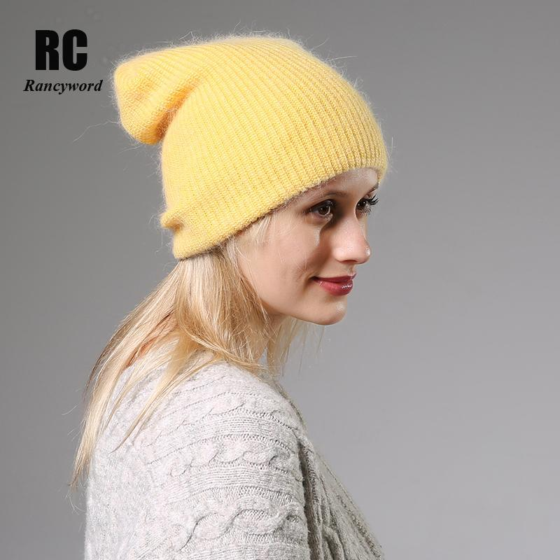 2020 New Winter Hat for Women Cashmere Knitted Beanies Thick Warm Ladies Wool Angora Hat Female Beanie Hats Women knitted