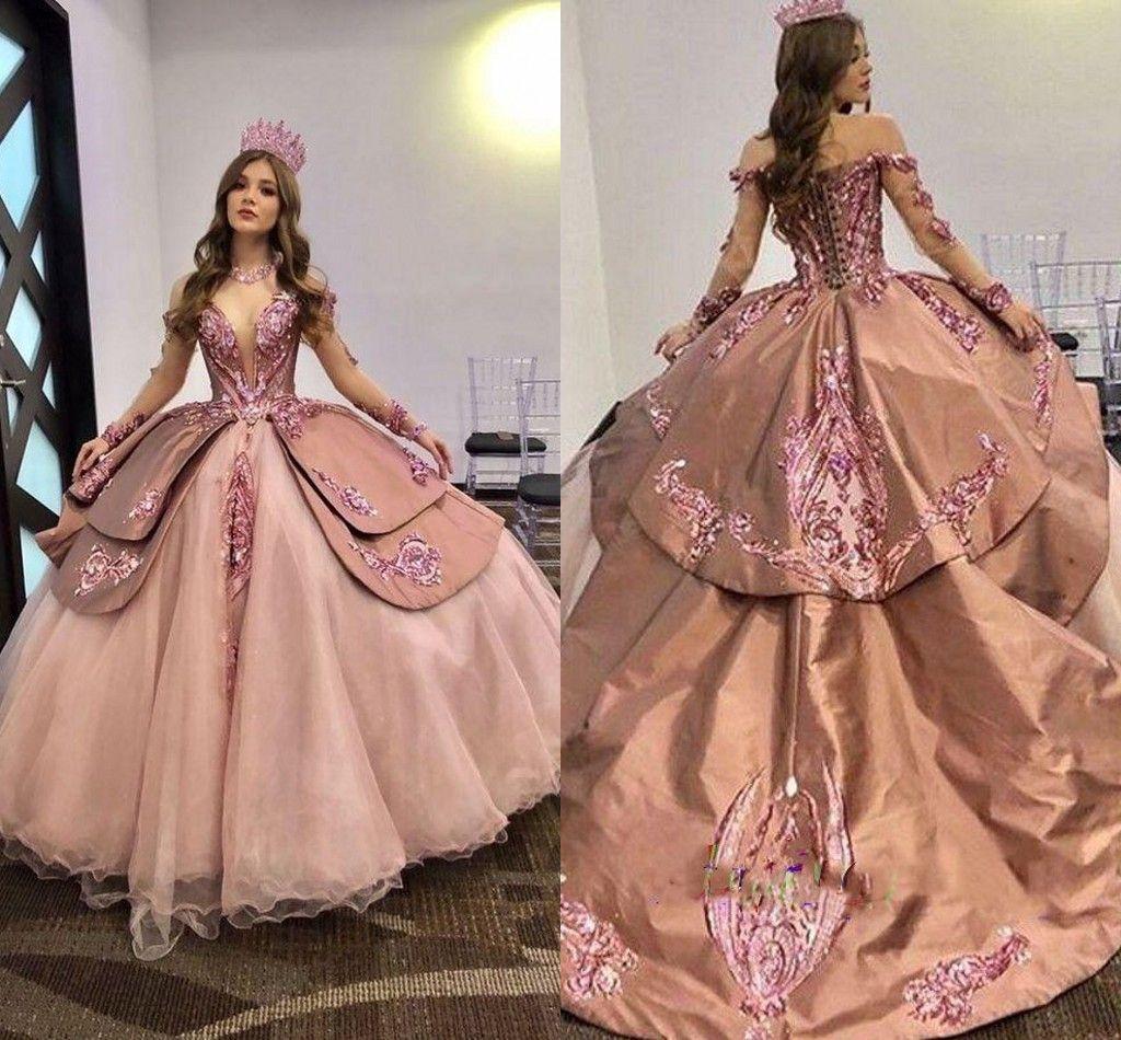 2021 Vestidos de quinceañera de magníficas Prom Apliques Patrones de lentejuelas de lentejuelas de lentejuelas de encaje de encaje Princesa Sweet 16 Vestido Brithday Party Book Al7483