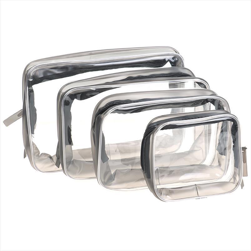 Sacs à glissière de fermeture à glissière 4Size Sac à maquillage clair Sac multifonctionnel Sac multifonctionnel Dual Cosmétic Pouch Organiseur étanche toilette cosmétique transparent LSJVA