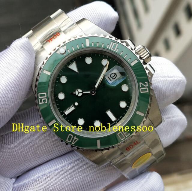 2 renk cal. 3135 Otomatik Hareketi Erkek 40mm 116610 Siyah Yeşil N Fabrika V11 Sürüm KIF Amortisör Ile Dalış 904L Dalış